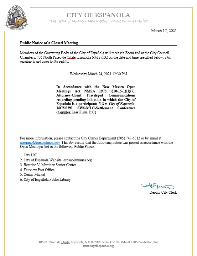 Public Notice of a Closed Meeting