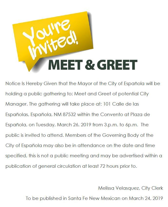 Meet and Greet Public Notice