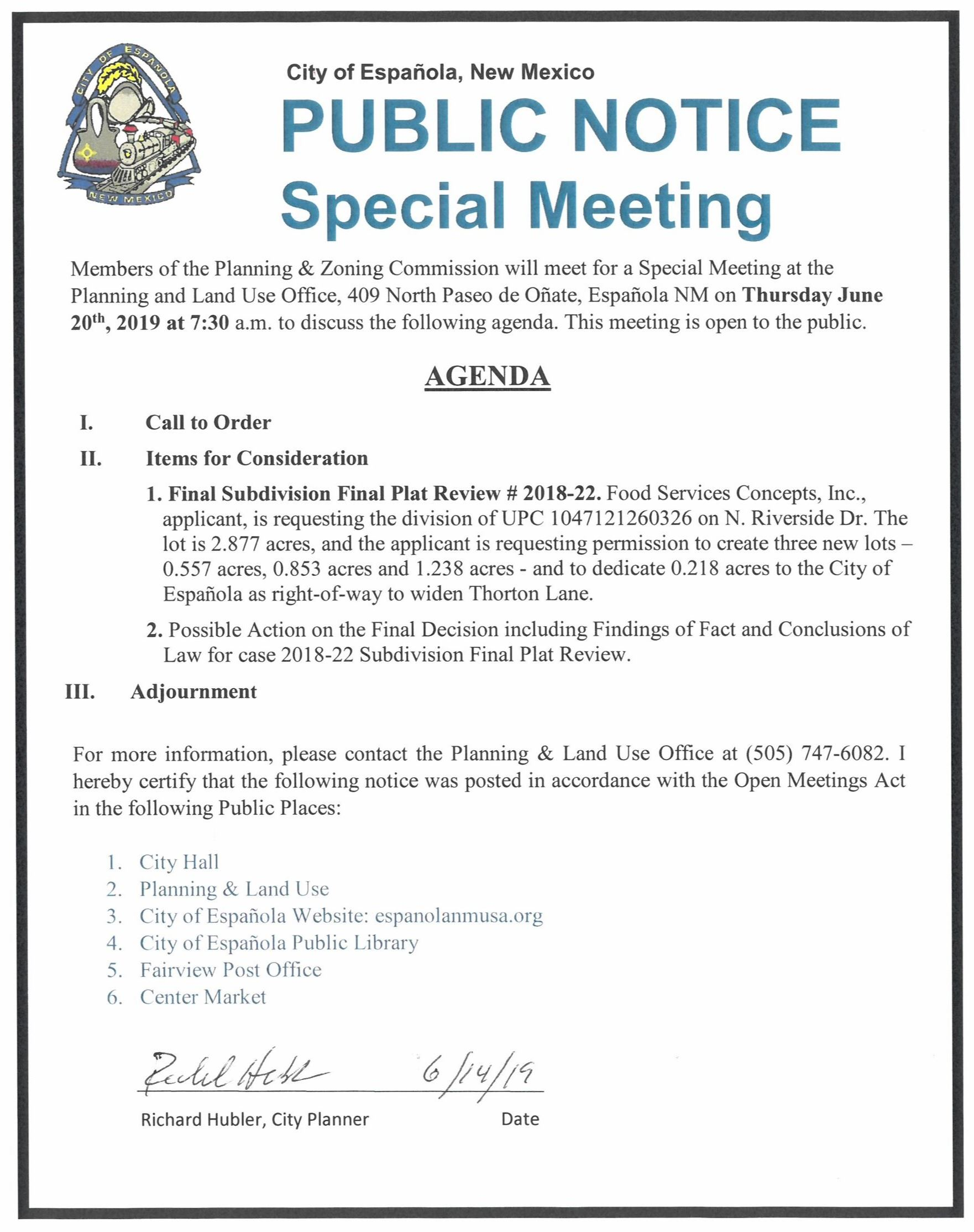 Agenda for the June 20, 2019 Special Meeting of the Planning & Zoning Commission