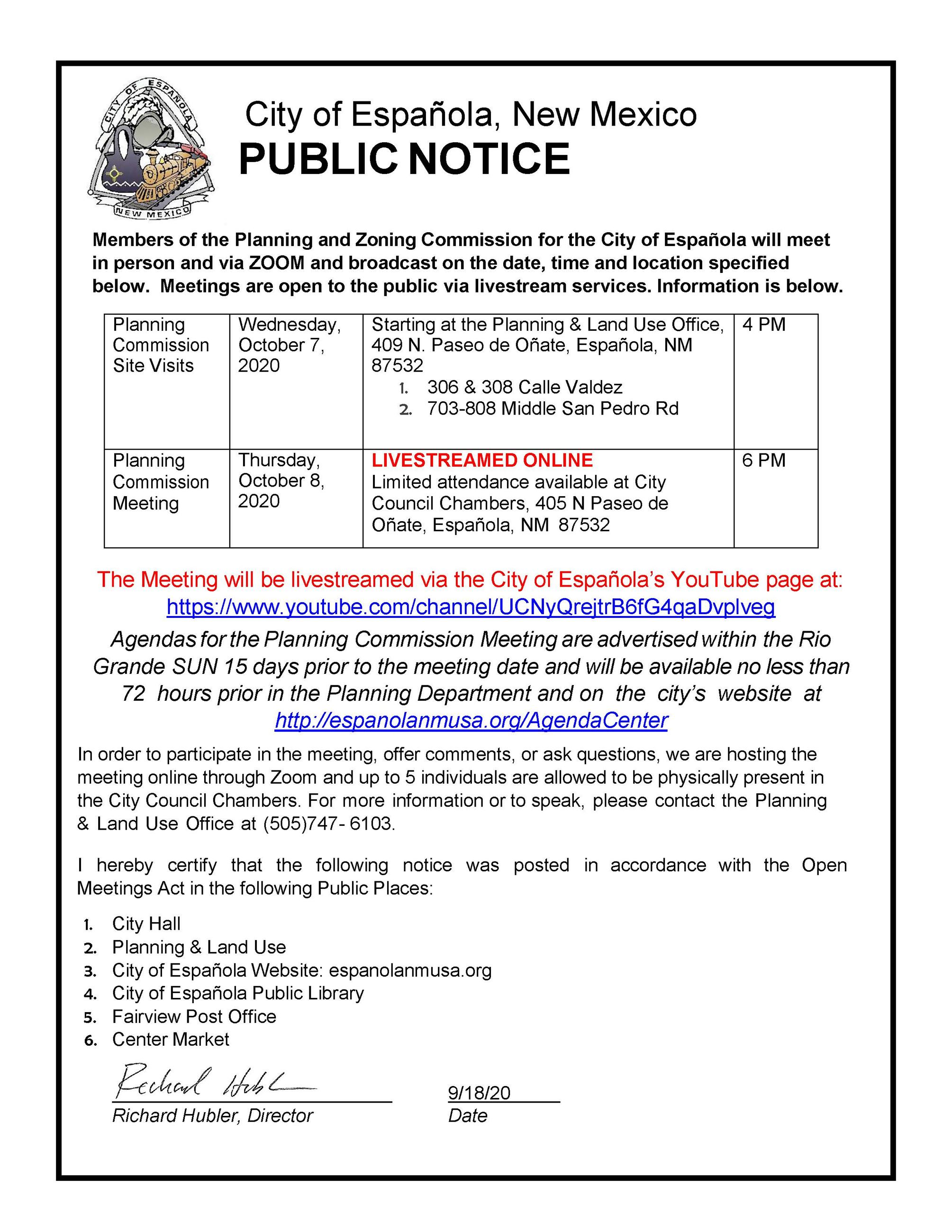 Planning & Land Use Public Notice October 2020